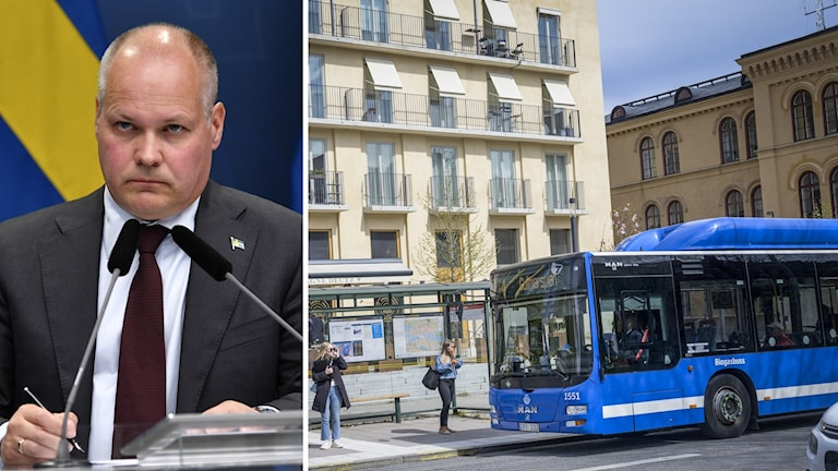 Politikern Morgan Johansson, till höger en buss.