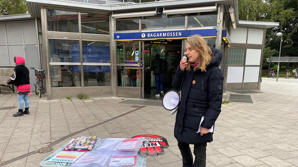 """Elin Gauffin, en av personerna bakom kampanjen """"Nej till marknadshyra""""."""