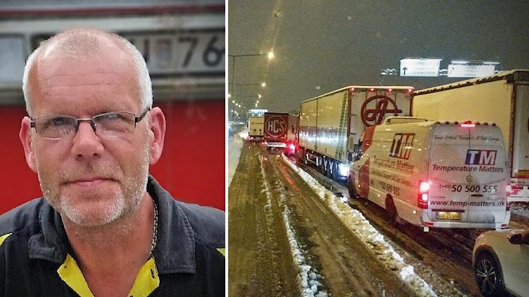 Lasse Carlberg, tankbilsförare, i bilkö på E4/E20 norrgående vid Västberga