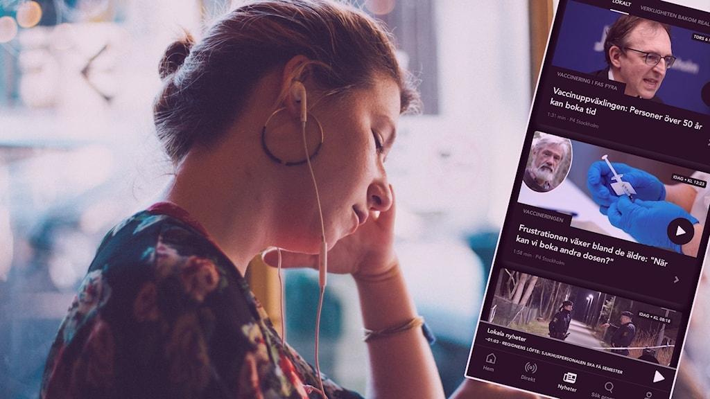 En kvinna med mobiltelefon, och till höger en faksimil av appen SR Play