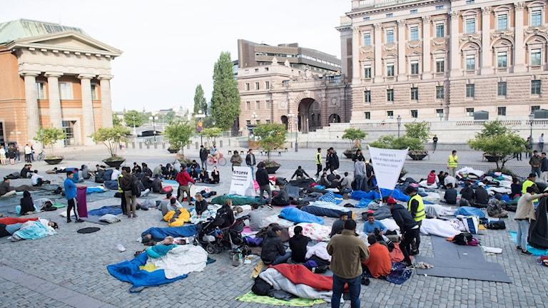 Afghanska ungdomar demonstrerar på Mynttorget i Stockholm.