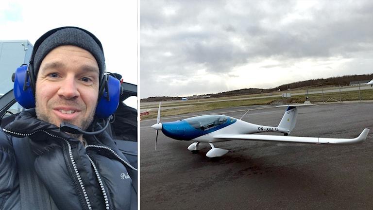 Reporter Rasmus Almerud får en åktur med ett elflygplan.