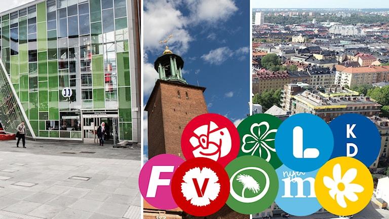 Partiernas loggor, Älvsjö, Södermalm och Stockholms stadshus