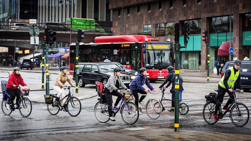 Cyklister i Stockholm.