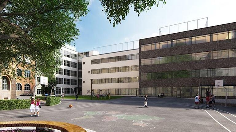 Så här kommer Vasa Reals skolgård se ut efter om- och tillbyggnaden.