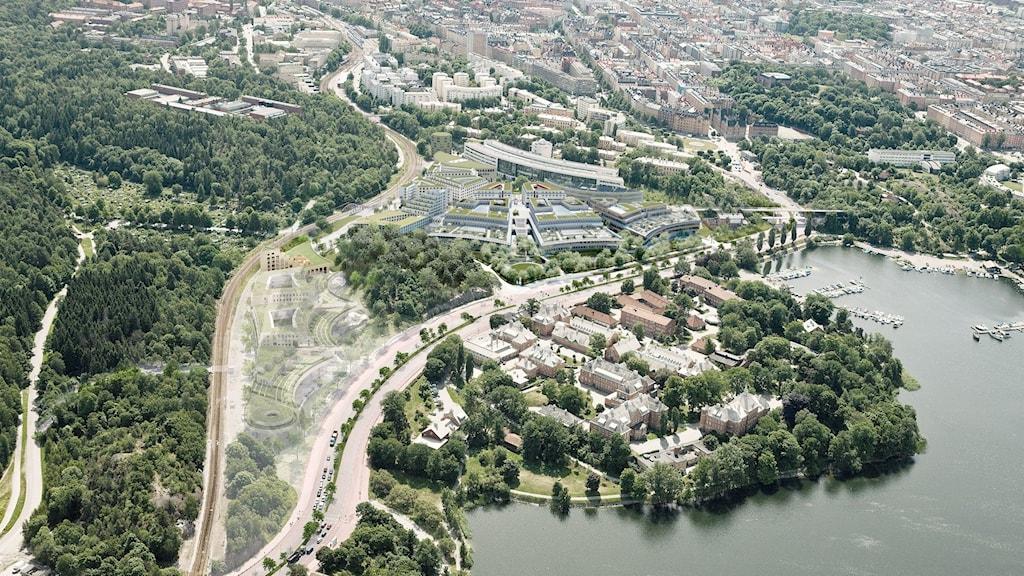 Campus Albano, flygperspektiv mot staden.