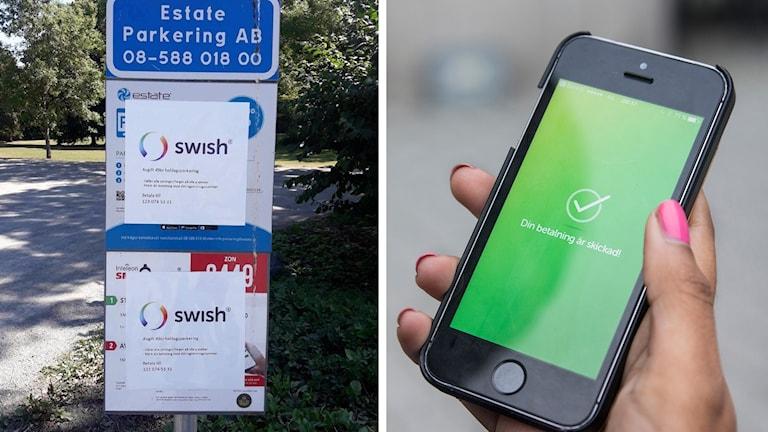Skyltarna är övertäcka av en uppmaning att swisha parkeringsavgiften till ett för de ansvariga okänt nummer.