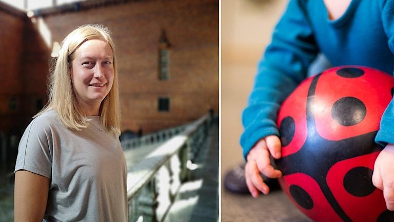 Katarina Luhr (MP), klimat- och miljöborgarråd i Stockholm. Barn med plastboll.