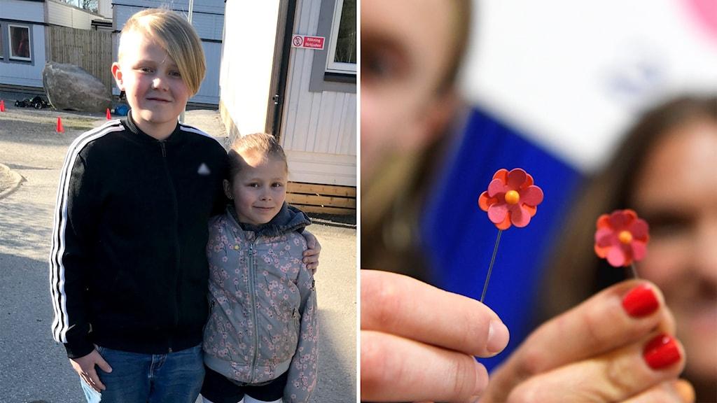 Till vänster: En elvaårig pojke med blont hår håller om sin yngre syster. Till höger: Två personer håller fram blommor gjorda av papper.