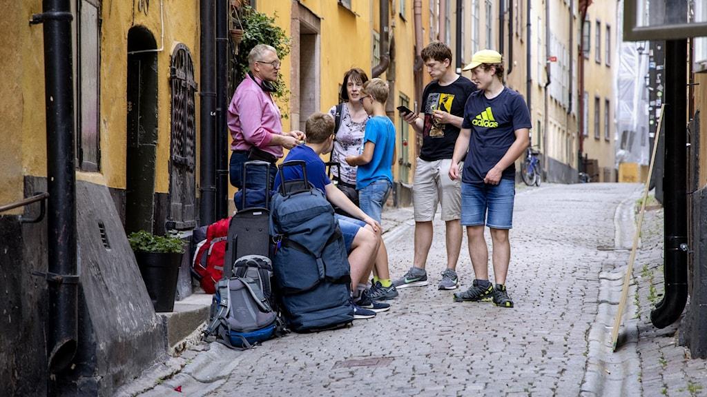Turister i Gamla stan.