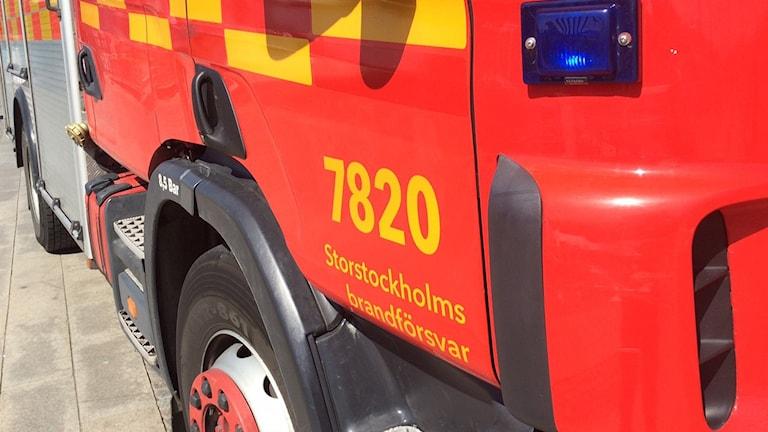 En av Storstockholms brandförsvars brandbilar på uppdrag (arkivbild).