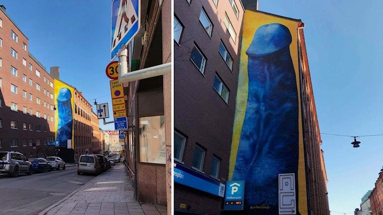 Penismålningen på Kronobergsgatan. Carolina Falkholt är konstnären.