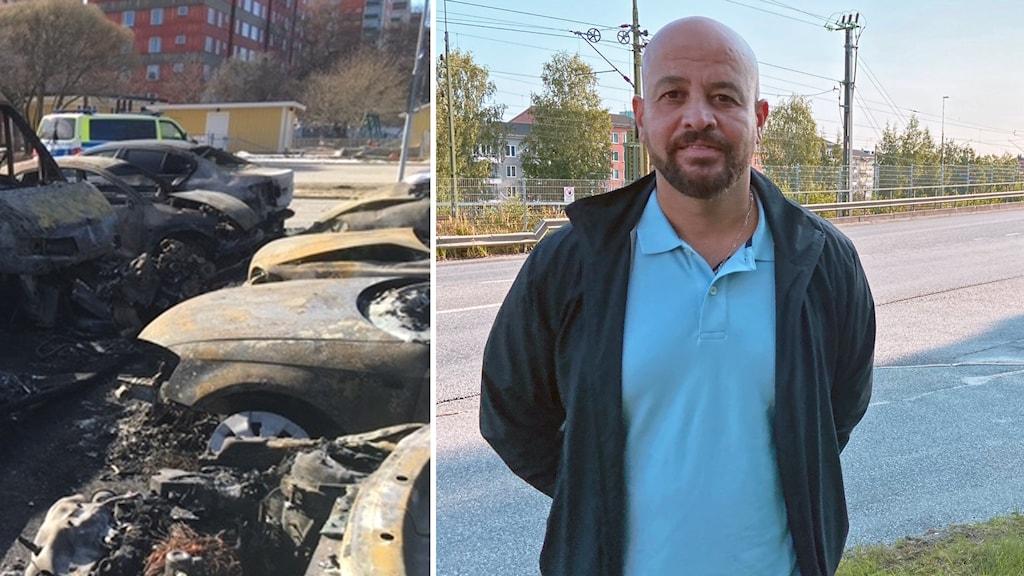 Brända bilar och polis Martin Lazar