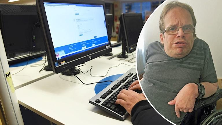 Person vid dator och Patrik Waern.