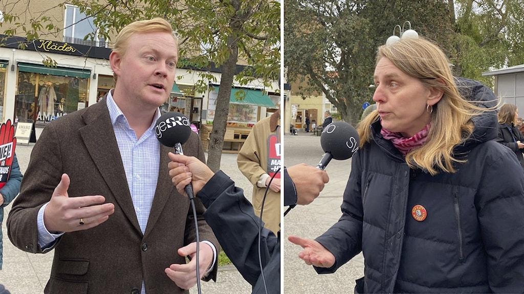 """Dennis Wedin (M) och Elin Gauffin, en av personerna bakom kampanjen """"Nej till marknadshyra"""" debatterar."""