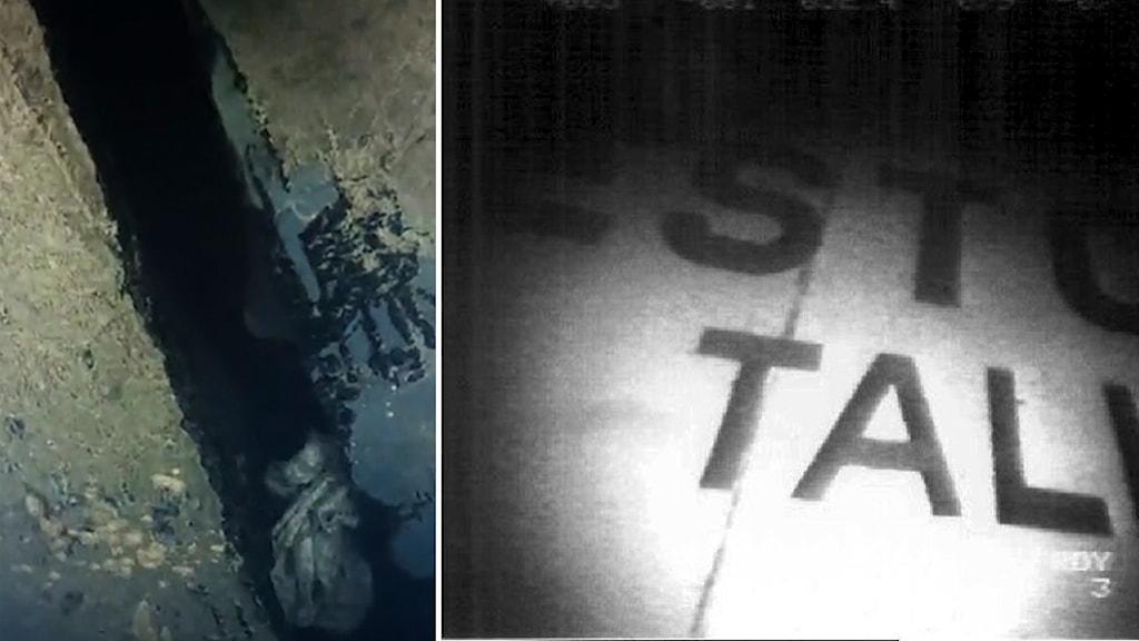Delad bild: hålet i Estonias skrov, namnet Estonia sett på en undervattenskamerabild.