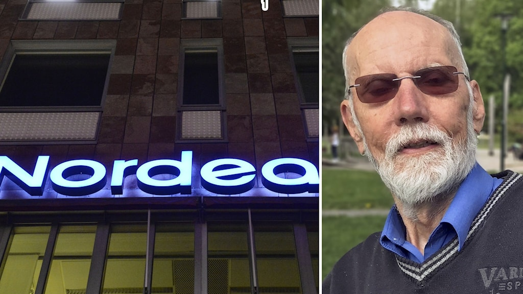 Skylt på bank och Göran Sköld.