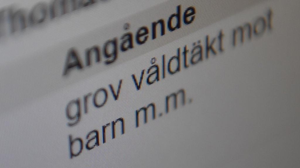 Text på en dataskärm med orden: Angående grov våldtäkt mot barn m.m.