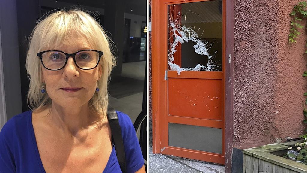 Eija Vättö, rektor och skottskadat dörrfönster