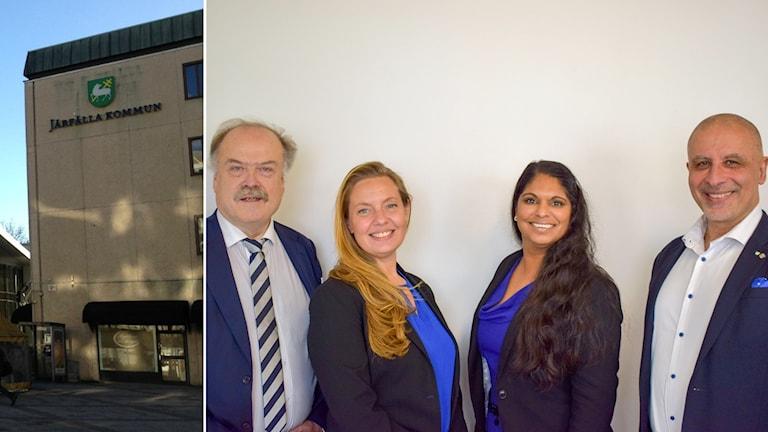 En bild på kommunhuset i Jakobsberg, en annan bild visar fyra personer som står bredvid varandra med en vit vägg bakom sig.