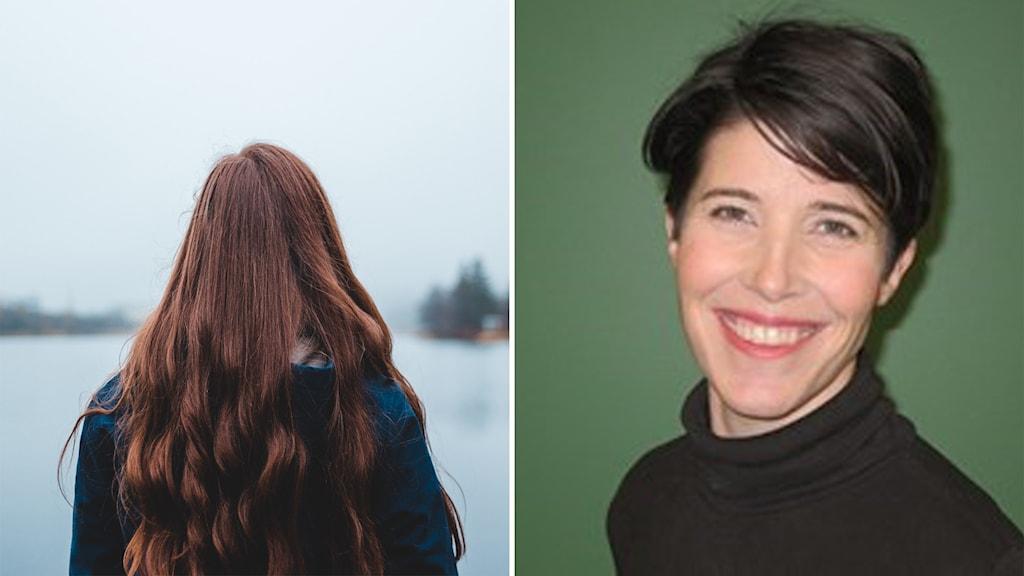 Kvinna bakifrån, och till höger Jessica Hellberg, enhetschef på socialförvaltningen.