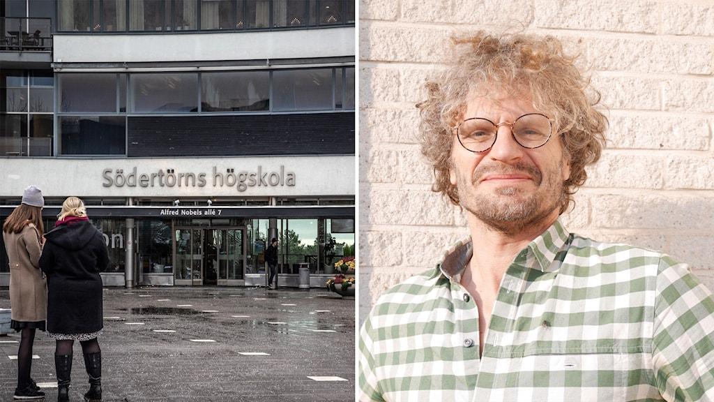 Bild på entrén på Södertörns högskola och docent Jan Selling.