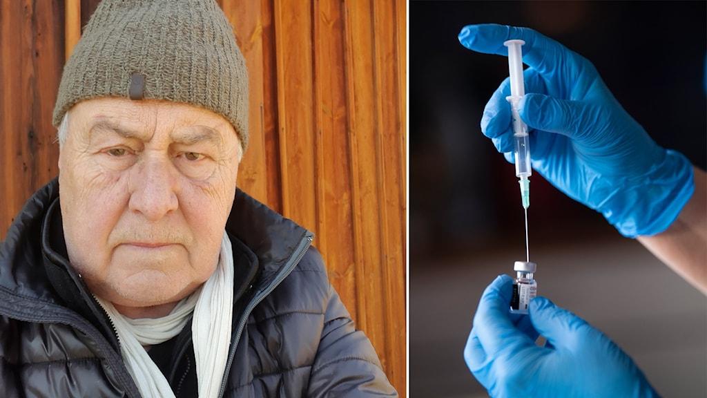 Bengt Rubin iförd mössa till vänster. Till höger två plasthandskebeklädda händer som fyller på en vaccinspruta.
