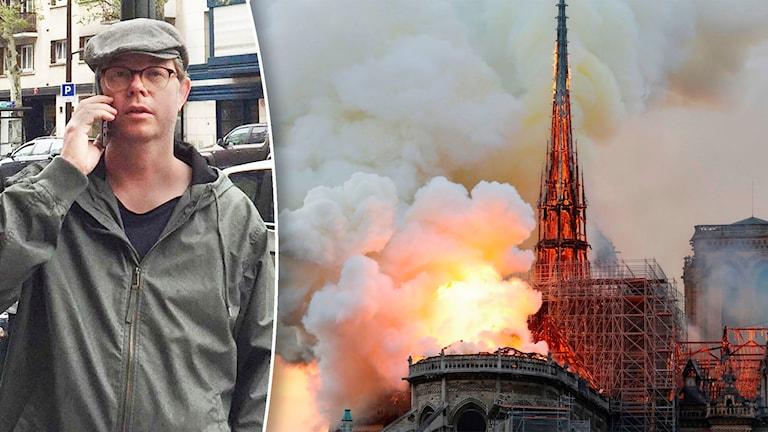 Johan Kvickström från Flen såg branden i Notre-Dame från Eiffeltornet.