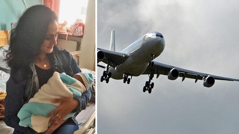 Hanife Duru hjälpa födande kvinna ombord. Foto: Sveriges Radio.