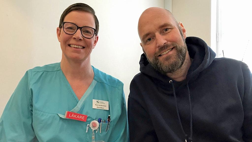 Coronapatienten Marcus Grundel och överläkare Åsa Landerholm.