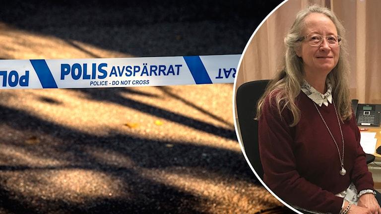 Lena Hellström, rektor på Knutbyskolan, sitter i en stol på sitt kontor. En annan bild visar ett av polisens avspärrningsband.
