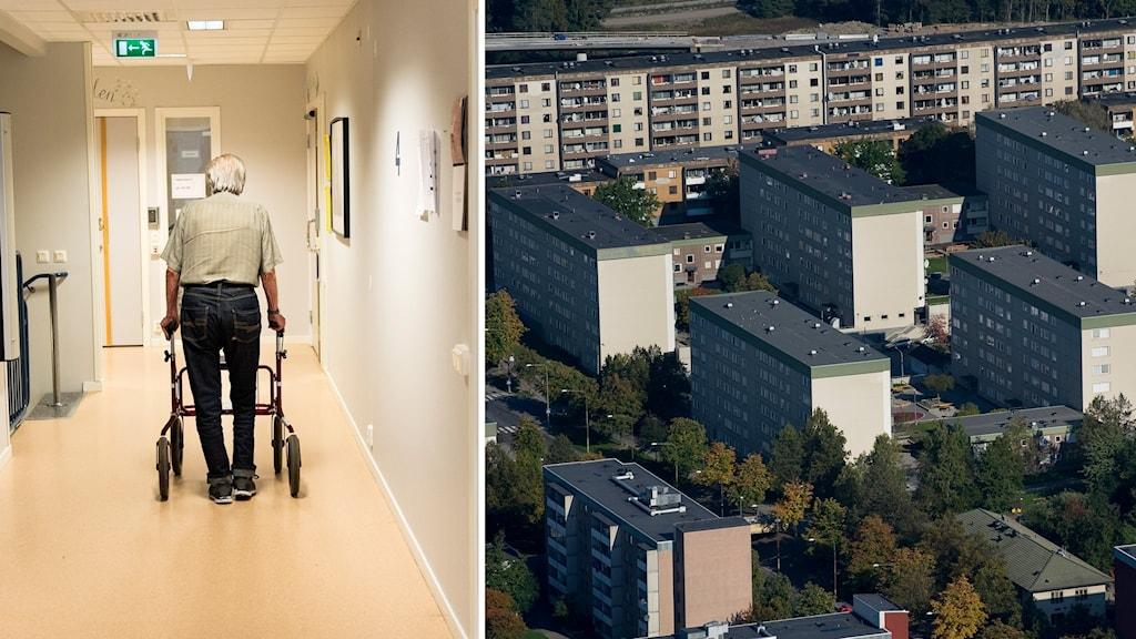 en man med rollator i en korridor på ett äldreboende och en flygbild över tensta i stockholm.