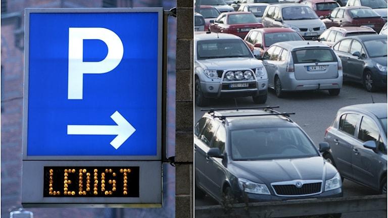 Parkeringsskylt och en bilparkering.