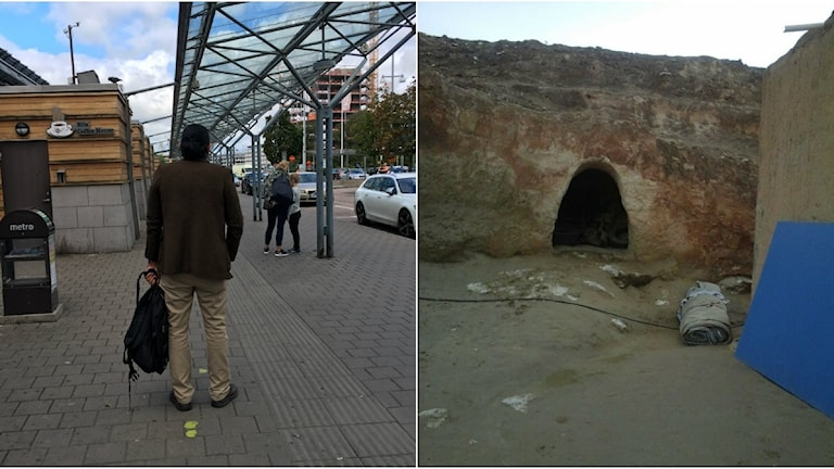 En person med ryggen mot kameran i centrala Göteborg. En till bild till höger på ett hål i en mur.