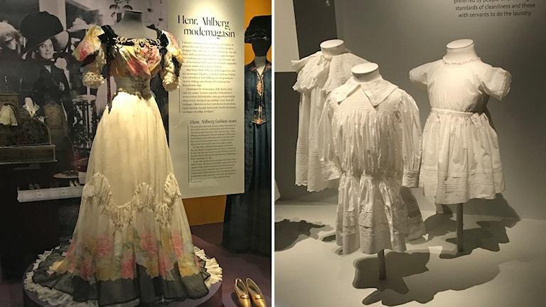 En bild på en långklänning och en bild på barnklänningar