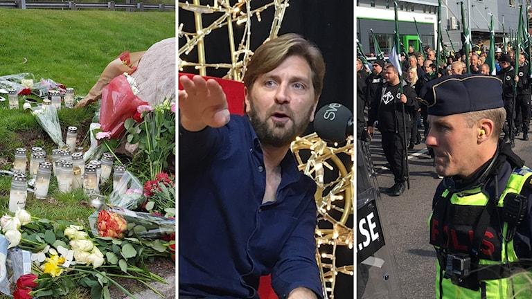 Tredelad bild: Blommor och ljus vid Lövgärdesskolan, Ruben östlund och Nazistiska motståndsrörelsens demonstration vid Bokmässan.