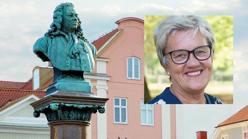 Bild på en kvinna i medelåldern är infälld ovanpå en bild från Alingsås.