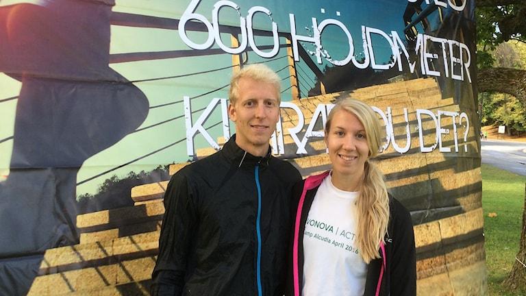 Daniel Welamsson och Towe Johansson vid starten i Slottsskogen.