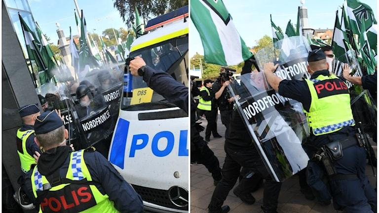 Nordiska motståndsrörelsen (NMR) hejdas av polis vid Fokushuset på Fabriksgatan under demonstrationen i Göteborg.