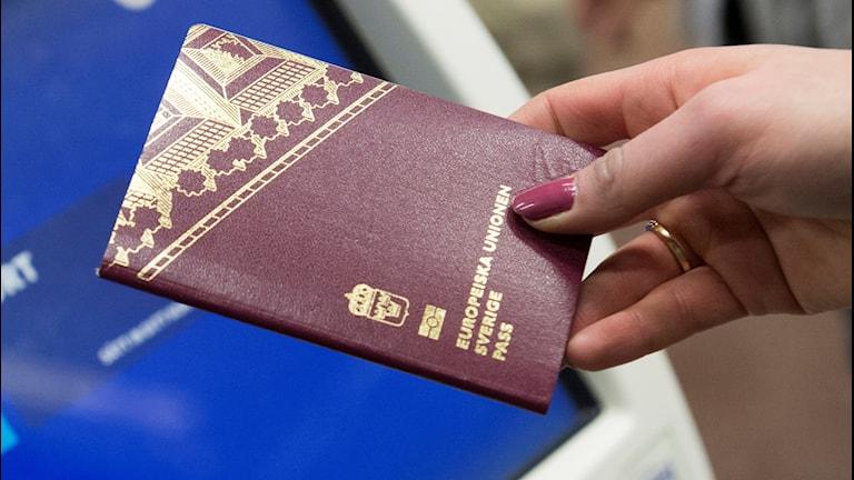 En hand håller i ett svenskt pass