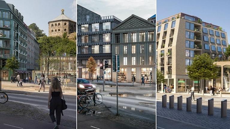 De tre alternativen i tävlingen om Skanstorget.