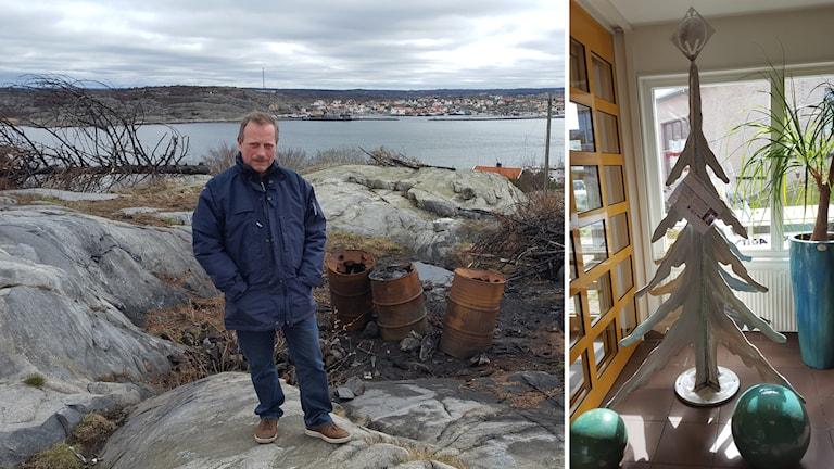 Jan-Eric Bäck vid en eldningsplats på Öckerö.