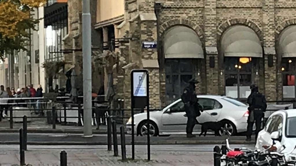 poliser med hund vid en bil