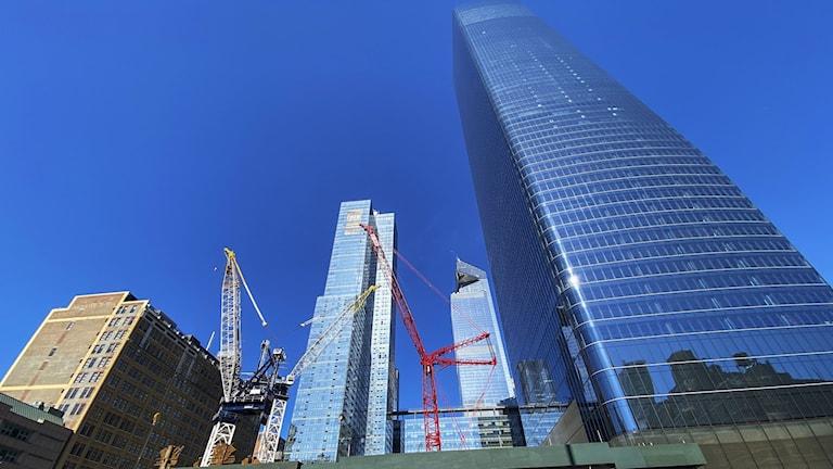 En bild på skyskrapor