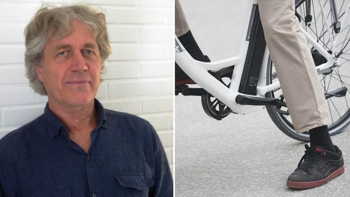 Roger Brandin och en elcykel.