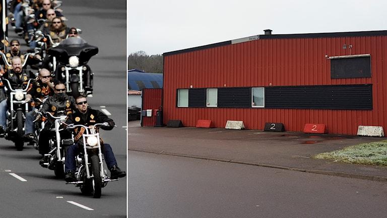 Tvådelad bild: Bandidosmedlemmar kör motorcykel. Till höger en rödmålad lagerbyggnad.