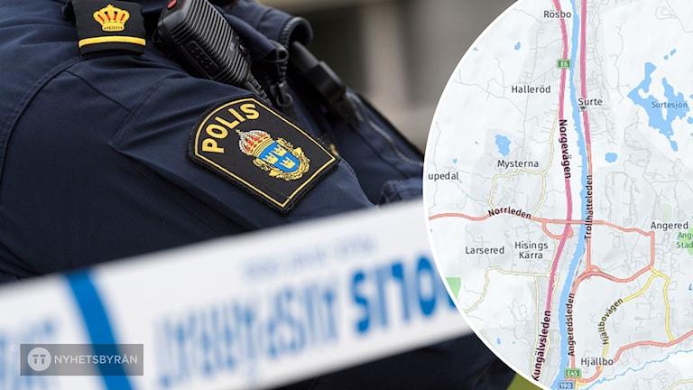 En polis. Till höger en karta.