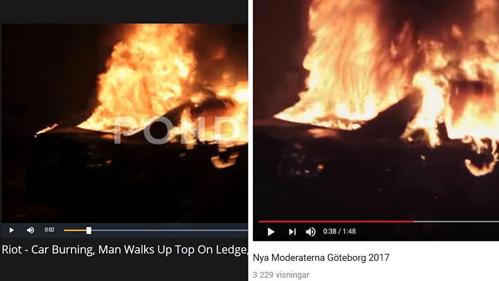 Två likadana bilder på samma brinnande bil