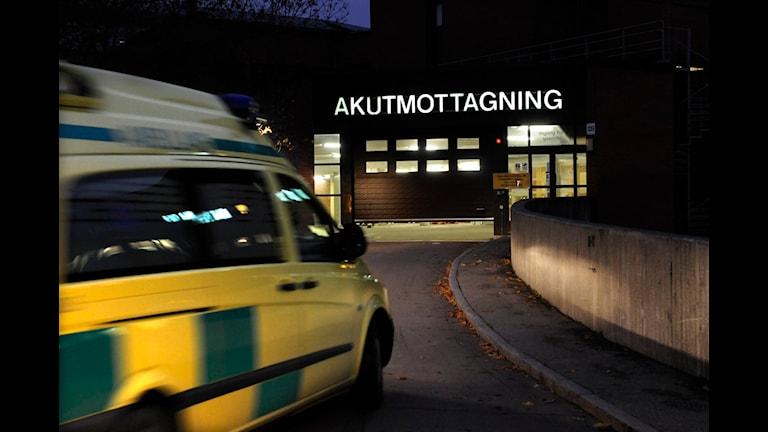 En ambulans på väg till akutmottagningen på S:t Görans sjukhus. Foto:Leif R Jansson/ Scanpix.