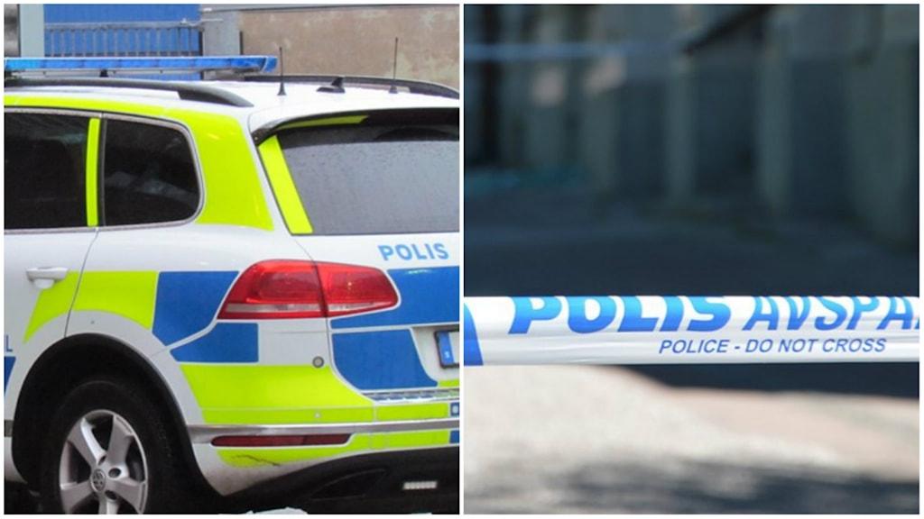 Polisbil och polisavspärrningsband - bilden är en arkivbild